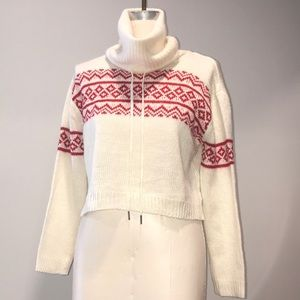 NWT Cream & Red Crop Cowl Neck Sweater sz Medium